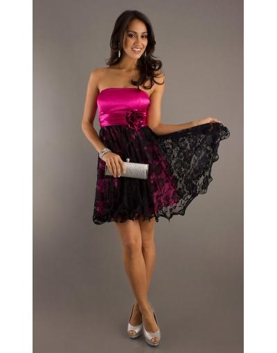Robe de soiree noir rose