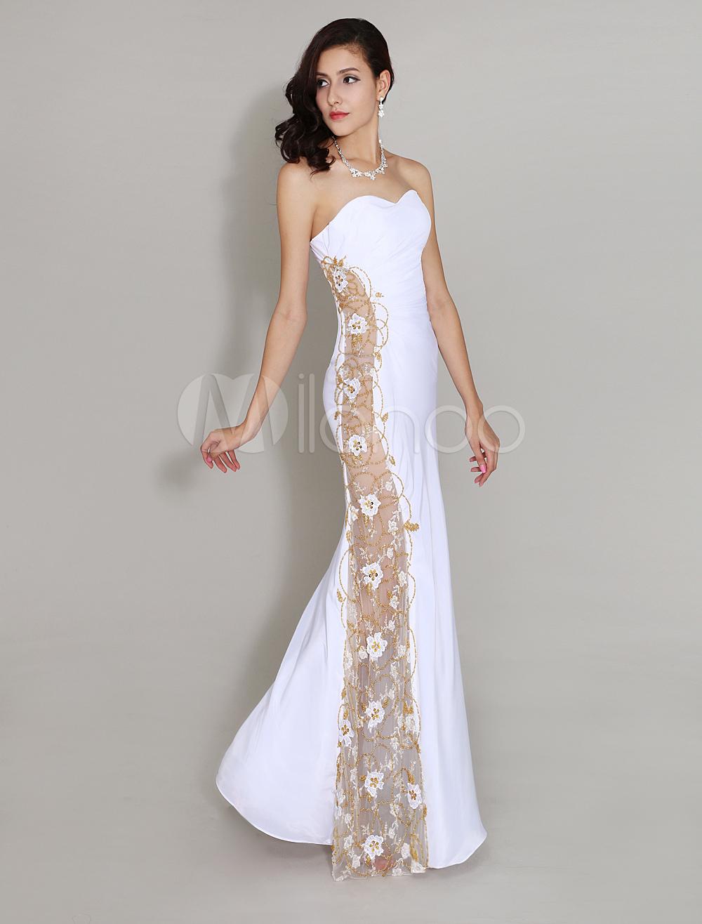 Robe de soiree blanc et or