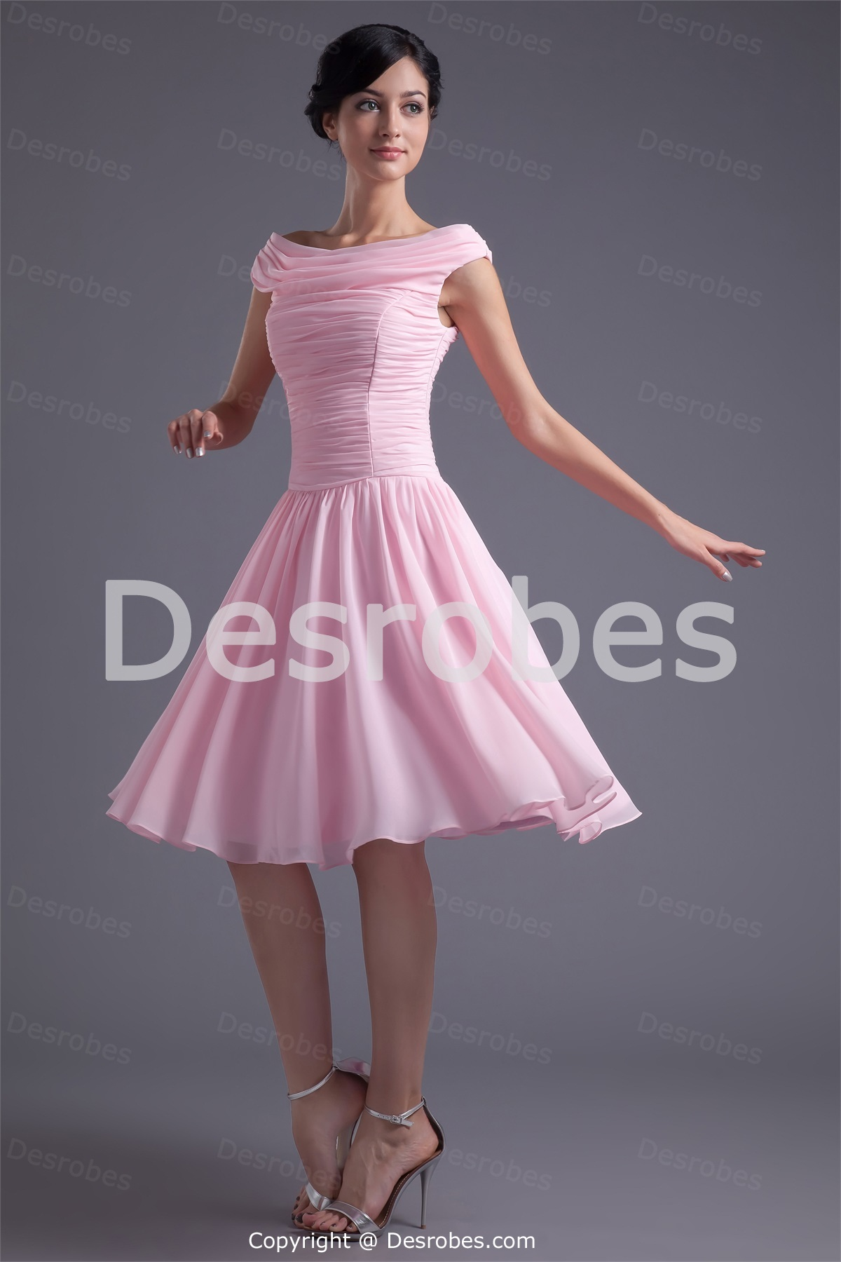 e38c8fc8569 Robe cocktail rose et grise robe ceremonie simple