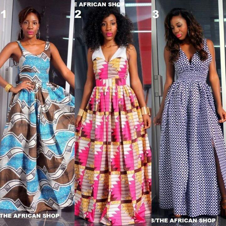 Modele longue robe pagne