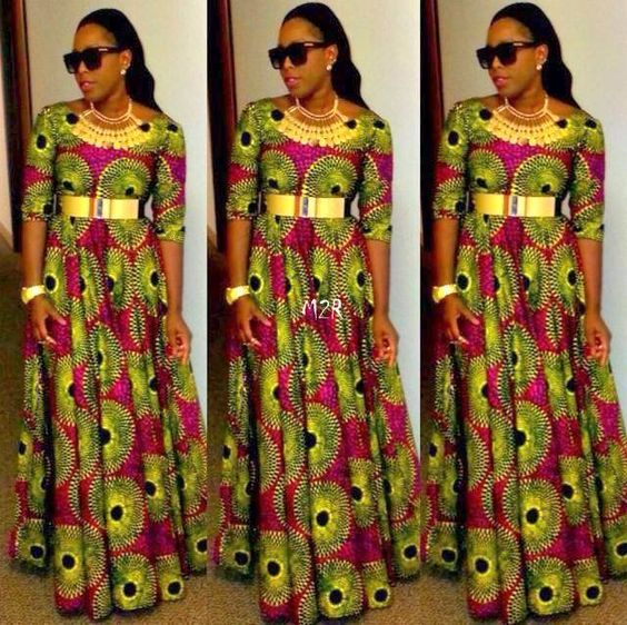 Robe longue en pagne africain