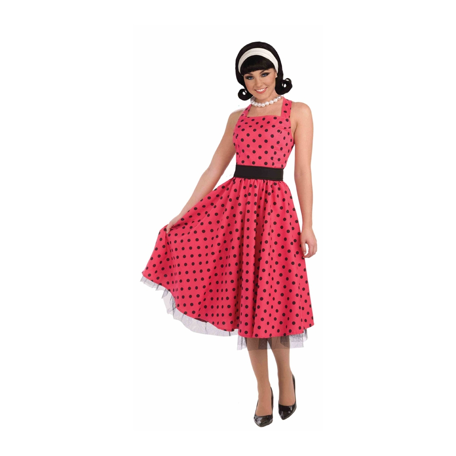 Robe a pois rouge annee 50