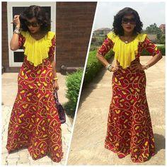 Modele de robe longue en pagne africain
